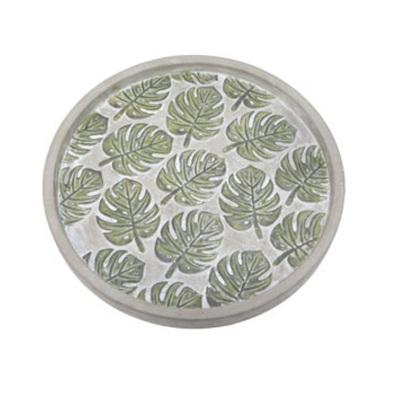 Sefina Monstera Plate - Cement 33cm diameter