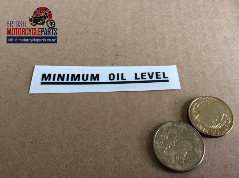 SEO: 60-0003B Transfer Minimum Oil Level - Black - British Motorcycle Parts Ltd