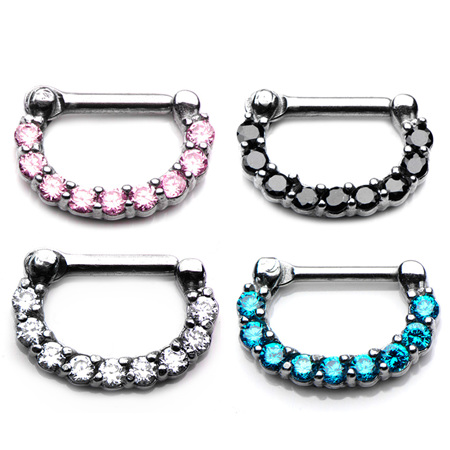 Septum Clickers with Prong Set CZ gems
