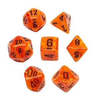 7 Orange with Black Vortex Dice