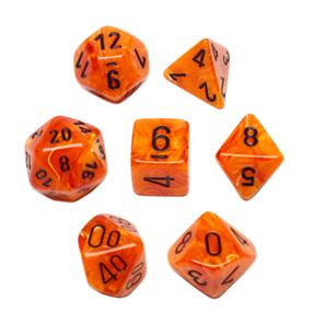 Set 7 Orange Vortex Polyhedral Dice with Black Numbers Games and Hobbies NZ NZ