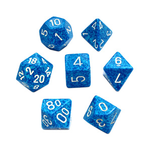 Set 7 Polyhedral Water Speckled Dice Games and Hobbies NZ New Zealand