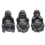 Set of 3 See No Evil Buddhas - Black - Outdoor Use - 45cmh