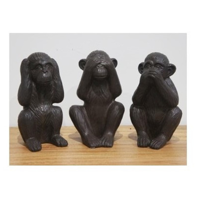 Set of 3 'See No Evil' Monkeys Ceramic - Black 29cmh