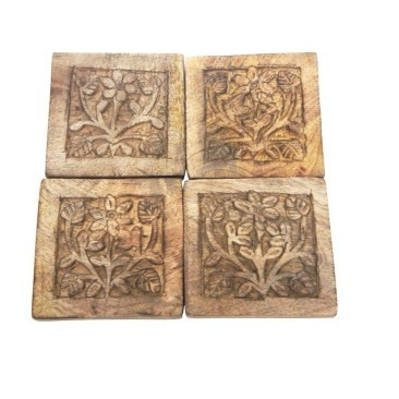 Set of 4 Achaicus Wooden Coaster - Natural Wood