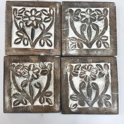 Set of 4 Achaicus Wooden Coaster - White Distress