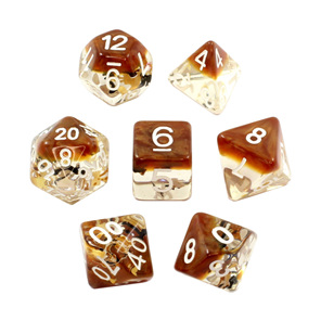 Set of 7 Amber Bows Confetti Polyhedral Dice Games and Hobbies NZ