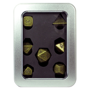 Set of 7 Antique Brass Metal Polyhedral Dice Games and Hobbies New Zealand NZ