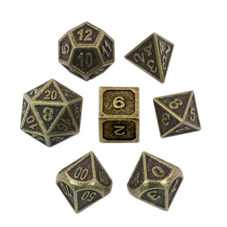 7 'Antique Brass' Modern Metal Dice