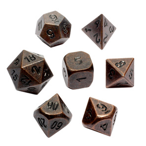 Set of 7 Antique Bronze Metal Polyhedral Dice Games and Hobbies New Zealand NZ