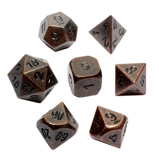 7 'Antique Bronze' Metal Dice
