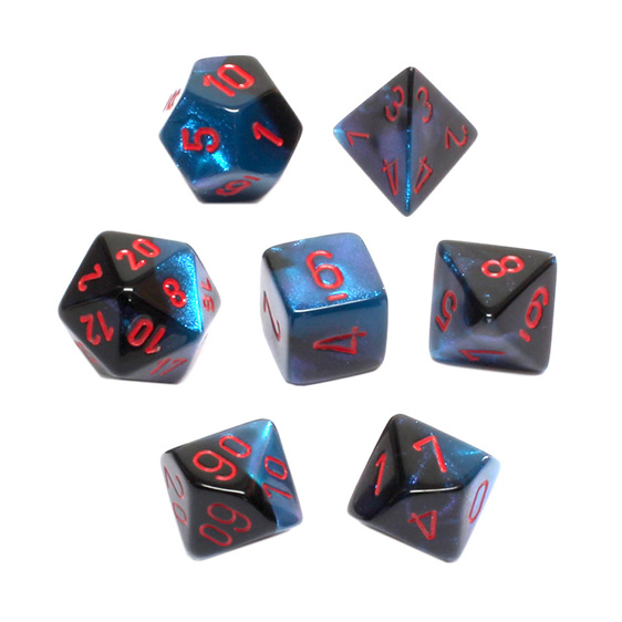 Set of 7 Black and Starlight Polyhedral Dice with Red Numbers Games and Hobbies