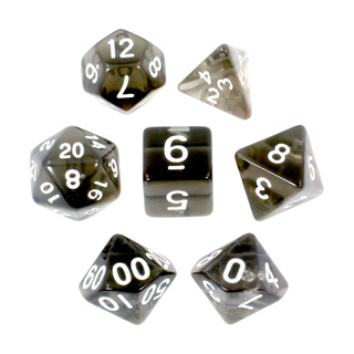 7 Black with White Translucent Dice