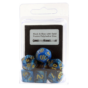 Set of 7 Black  & Blue Fusion Polyhedral Dice Games and Hobbies New Zealand