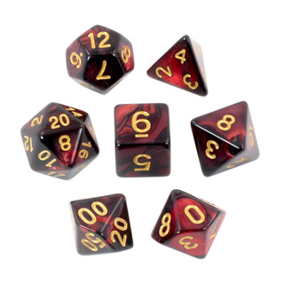 7 Black & Burgundy with Gold Fusion Dice