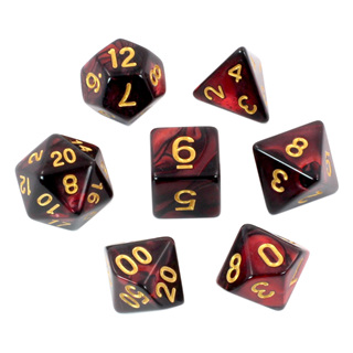 7 Black & Burgundy Fusion Polyhedral Dice with Gold Numbers