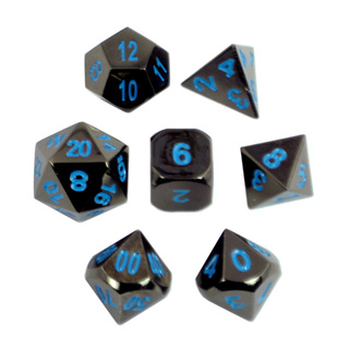 7 'Black Chrome' with Blue Classic Metal Dice