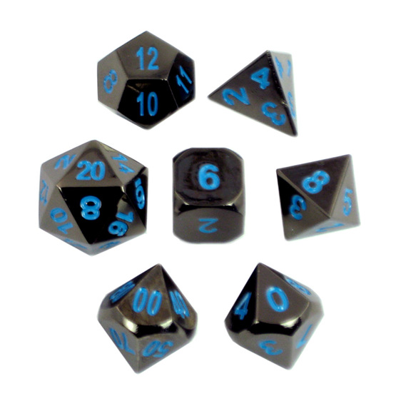 Set of 7 Black Chrome with Blue Metal Polyhedral Dice Games and Hobbies NZ
