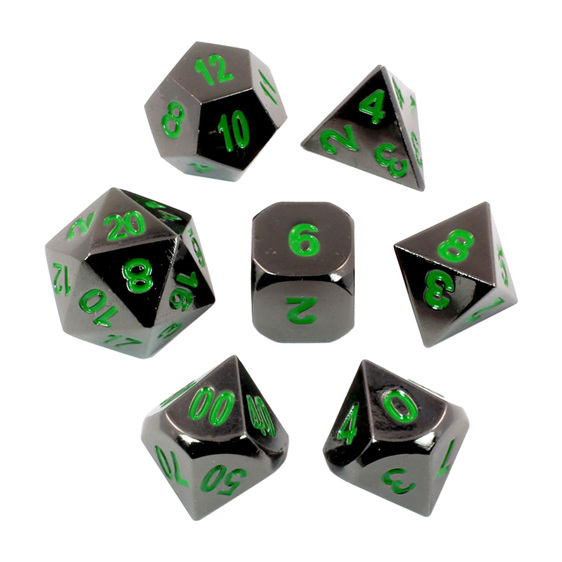 Set of 7 Black Chrome with Green Metal Polyhedral Dice Games and Hobbies NZ