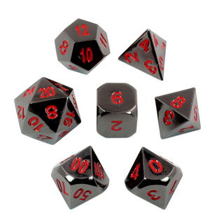 7 'Black Chrome with Red' Metal Dice