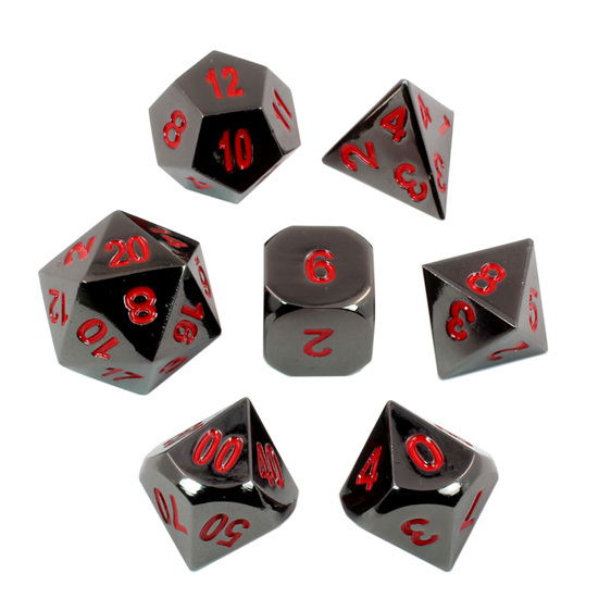 Set of 7 Black Chrome with Red Metal Polyhedral Dice Games and Hobbies NZ