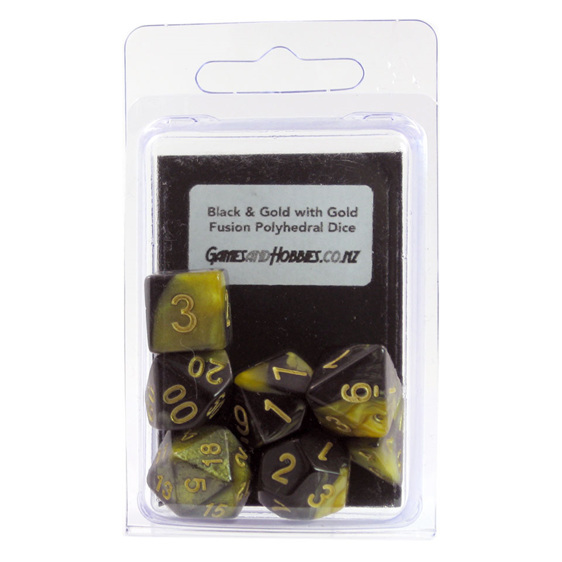 Set of 7 Black & Gold Fusion Polyhedral Dice Games and Hobbies New Zealand