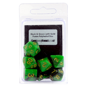 Set of 7 Black & Green Fusion Polyhedral Dice Games and Hobbies New Zealand