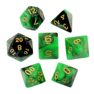 7 Black & Green with Gold Fusion Dice