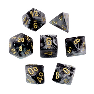 7 Black with Gold Lustrous Dice