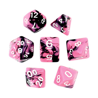 7 Black & Pink with White Fusion Dice