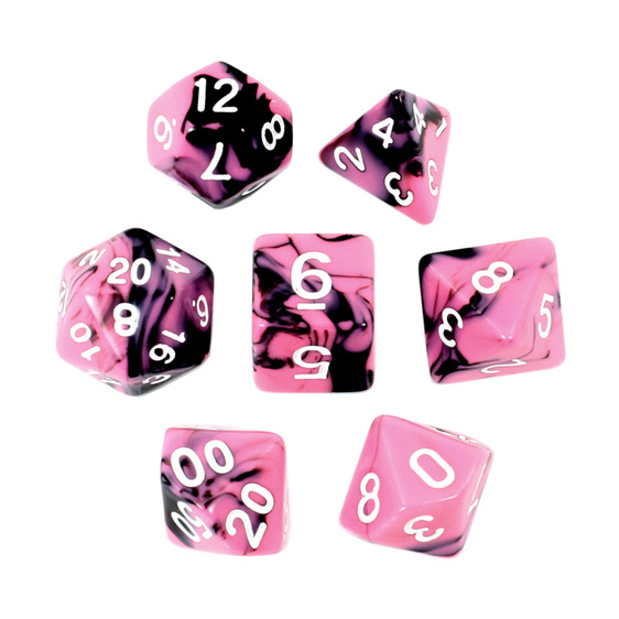 Set of 7 Black  & Pink Fusion Polyhedral Dice Games and Hobbies New Zealand