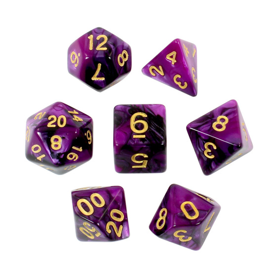 Set of 7 Black  & Purple Fusion Polyhedral Dice Games and Hobbies New Zealand