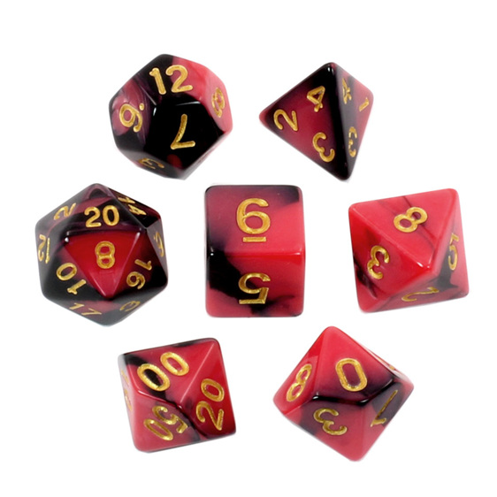 Set of 7 Black & Red Fusion Polyhedral Dice Games and Hobbies New Zealand