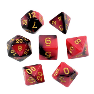 7 Black & Red with Gold Fusion Dice
