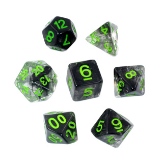 7 Black with Green Vapour Dice
