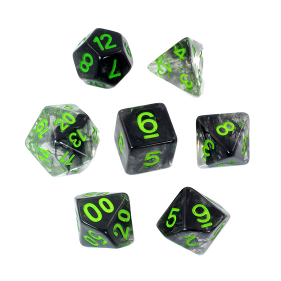 Set of 7 Black Vapour Translucent Polyhedral Dice with Green Numbers NZ