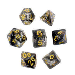 7 Black with Gold Vapour Dice