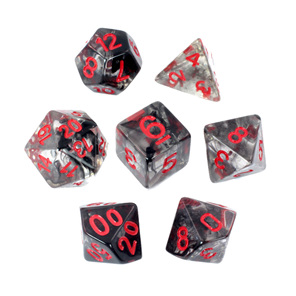 Set of 7 Black Vapour Translucent Polyhedral Dice with Red Numbers NZ