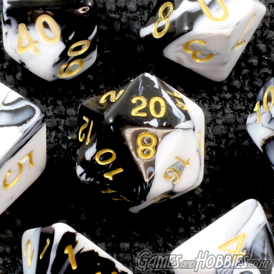 Set of 7 Black & White Fusion Polyhedral Dice Games and Hobbies New Zealand