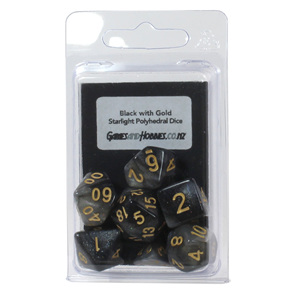 Set of 7 Black with Gold Starlight Polyhedral Dice Games and Hobbies NZ