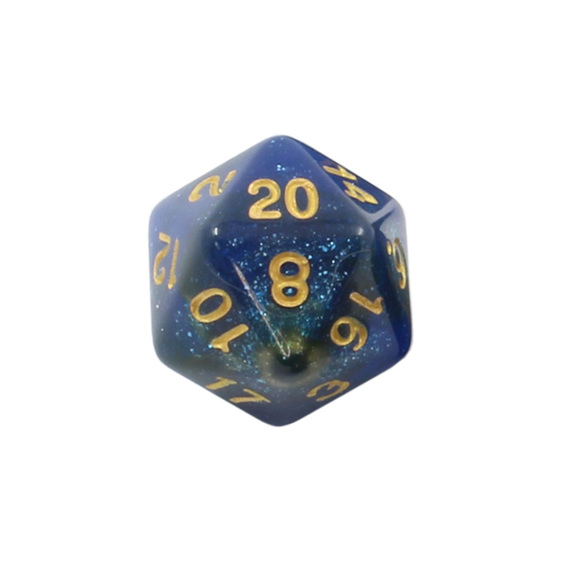 Set of 7 Blue and Orange with Gold Starlight Polyhedral Dice Games and Hobbies