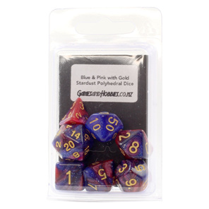 Set of 7 Blue and Pink with Gold Starlight Polyhedral Dice Games and Hobbies