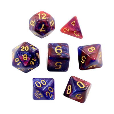 7 Blue & Pink with Gold Stardust Dice
