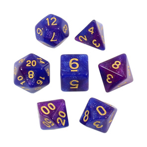 Set of 7 Blue and Purple with Gold Starlight Polyhedral Dice Games and Hobbies