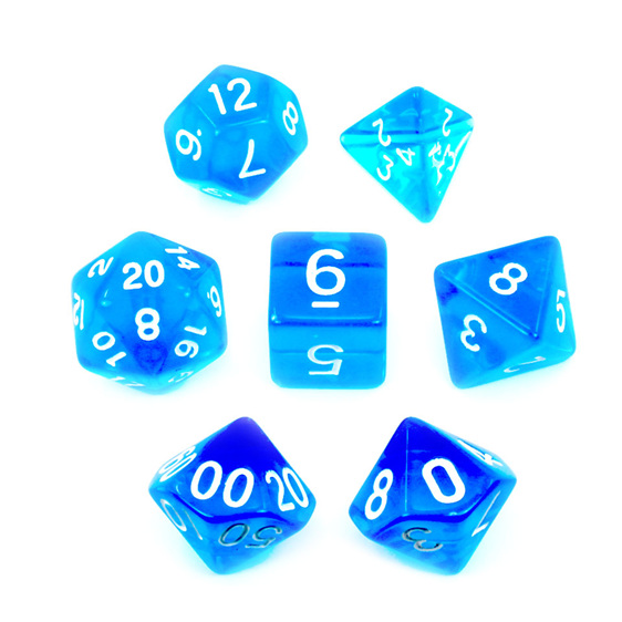 Set of 7 Blue and White Translucent Polyhedral Dice Games Hobbies New Zealand