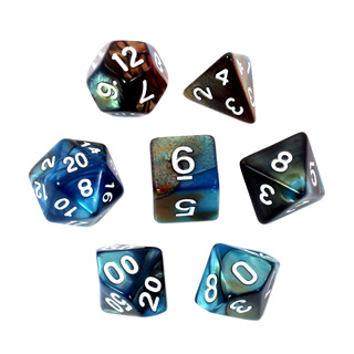 7 Blue & Bronze with White Fusion Dice