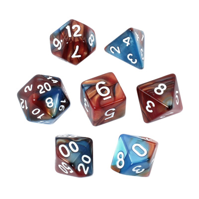 7 Blue & Copper with White Fusion Dice