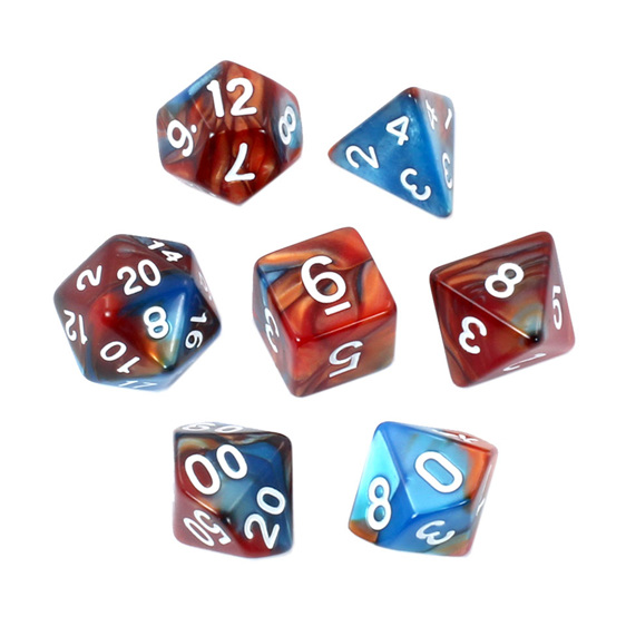 Set of 7 Blue & Copper Fusion Polyhedral Dice Games and Hobbies New Zealand