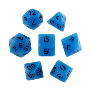 Set of 7 Blue Glow in the Dark Polyhedral Dice with Black Games and Hobbies NZ