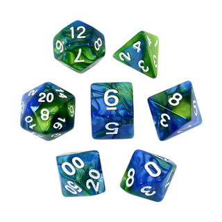 7 Blue & Green with White Fusion Dice